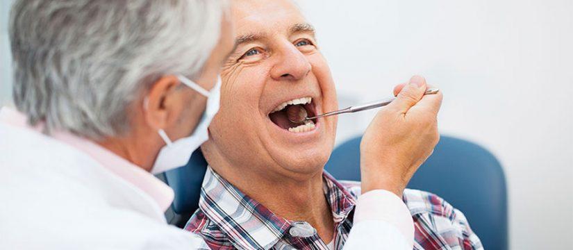 old man at the dentist